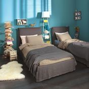 Gervasoni - Ghost 80.S Bed With Slip Cover 215x98cm - tabacc grey brown/without mattress and lath floor