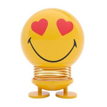Hoptimist - Hoptimist Smiley Love Wackelfigur - gelb/glänzend/H 14cm/Ø 10cm/mit Federmechanismus