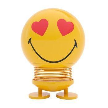 - Hoptimist Smiley Love Wackelfigur - gelb/glänzend/H 14cm/Ø 10cm/mit Federmechanismus