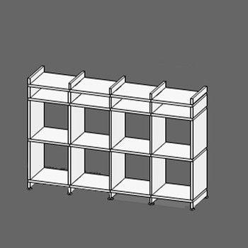 mocoba - mocoba Sideboard 4 - weiß/Kante weiß/8+4 Fächer/Abschlusssleiste oben und unten 5cm