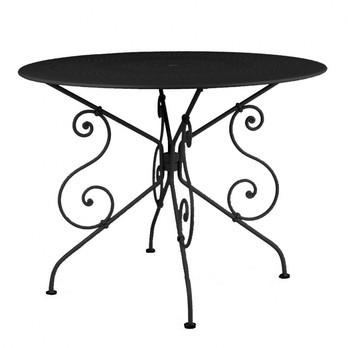 Fermob - 1900 Gartentisch - lakritz schwarz/lackiert/mit Sonnenschirmloch/Ø96cm
