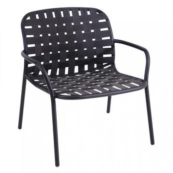 emu - Yard Garten-Loungesessel - schwarz/elastische Gurte grau schwarz/BxHxT 73x77x71,5cm/Gestell aluminium schwarz