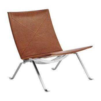 Fritz Hansen - PK22™ Loungesessel - walnuss/Elegance Leder/Gestell mattverchromter Federstahl/63x71x63cm