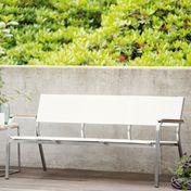 Jan Kurtz - Lux XL Loungebank 3-Sitzer - weiß/Gestell Edelstahl/Batyline