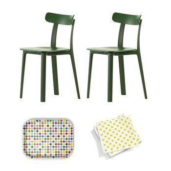 Vitra - Aktionsset All Plastic Chair Stuhl - efeu grün - two tone/Classic Diamonds Multicolor Tablett/Papierservietten gelb/Tablett und Papierservietten geschenkt!