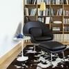 Knoll International - Womb Chair Relax Leder Ottoman Gestell chrom