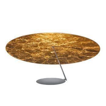 Catellani & Smith - Lederam C180 LED Deckenleuchte - weiß/gold/Baldachin weiß H 3.5cm/2700K/2550lm/CRI80/mit Dimmer/Ø80cm/Stange satin/ Scheibe weiß