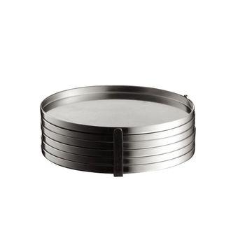 Stelton - Cylinda Line Gläseruntersetzer, 6 Stück - edelstahl/matt