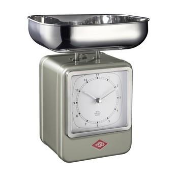 Wesco - Wesco Retro Waage mit Uhr - neusilber/15x27x13cm