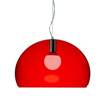 Kartell - FL/Y Pendelleuchte - rot/transparent/Ø52cm