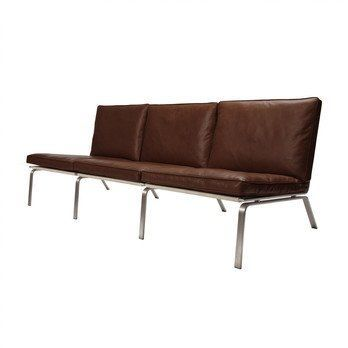NORR 11 - Man Lounge 3-Sitzer Ledersofa - braun/Leder Premium Leather Brown 41589/Gestell aus gebürstetem Stahl/197x74x75cm