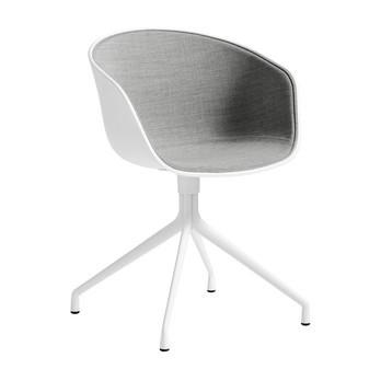 HAY - About a Chair 20 Armlehndrehstuhl gepolstert - grau/weiß/Stoff Remix 123/Gestell weiß/mit Spiegelpolster