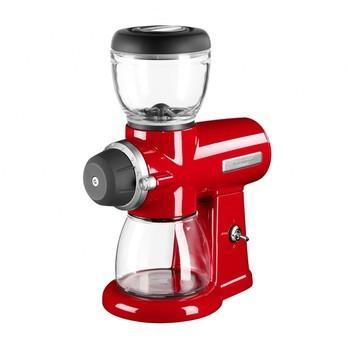 KitchenAid - Artisan 5KCG0702 Burr Grinder - empire red/glossy/LxWxH 25.4x15x24.9cm/slice Ø 5.7 cm/reservoir capacity 200g