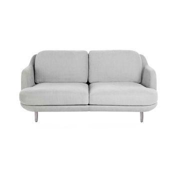 Fritz Hansen - Lune 2-Sitzer Sofa 155 x 93.5 cm - eucalyptus grau/Stoff Linara 2494/324/Gestell gebürstetes Aluminium