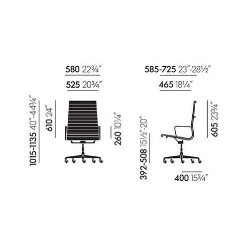 Vitra - EA 119 Alu Chair Bürostuhl/ Gestell verchromt - Strichzeichnung