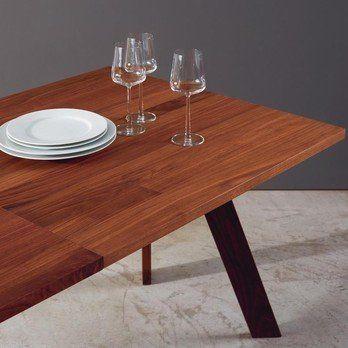 More - Tosh Tisch 200x100cm - nussbaum/matt/LxBxH 200x100x74,5cm/mit Auszugsplatte + 60 cm