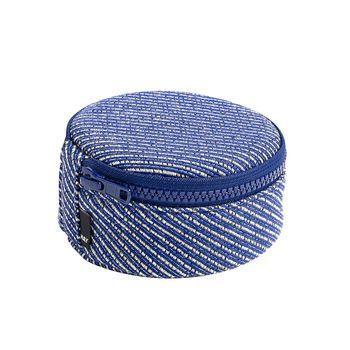 HAY - HAY Casette Aufbewahrungstasche S - blau/mit Reißverschluss/H 4cm/Ø 11cm
