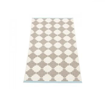 pappelina - Marre Teppich 70x90cm - schlamm/vanille/turquoise stripe/wendbar