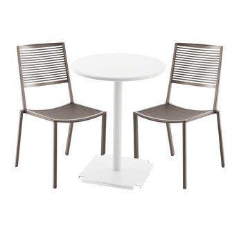 Fast - Easy Cross/Tonic Gartenset  - taupe/Tisch weiß Ø 60cm/2 Stühle 1 Bistrotisch