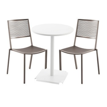 Fast - Easy Cross/Tonic Outdoor Set - taupe/Table white Ø 60cm/2 Chairs 1 Bistro Table