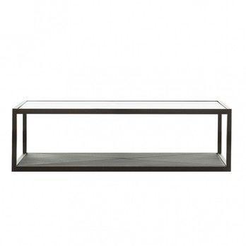 - Monaco Beistelltisch 115x115 - schwarz/Tischplatte in Glas/L x B x H: 115 x 115 x 35cm