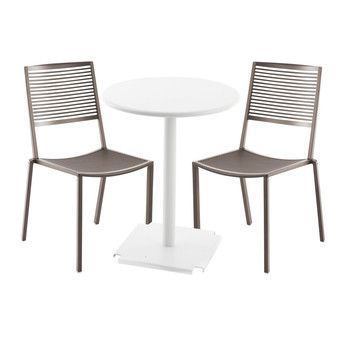 Weishäupl - Easy Cross/Tonic Gartenset  - taupe/Tisch weiß Ø 60cm/2 Stühle 1 Bistrotisch