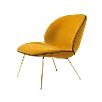 Gubi - Beetle Lounge Chair Samt Gestell Messing