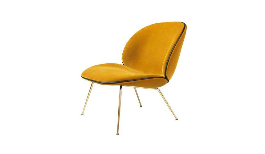 Beetle lounge fauteuil fluweel messing frame gubi - Geel fluweel ...