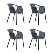 Pedrali - Set de 4 chaises avec accoudoirs Tatami 306