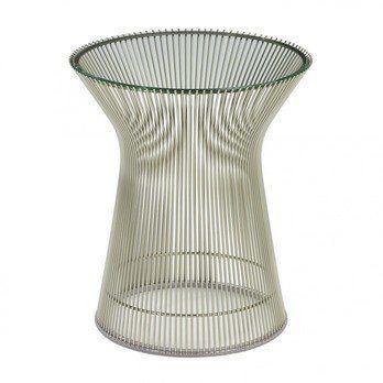 Knoll International - Platner Beistelltisch - transparent/Kristallglas/Gestell Nickel poliert/H 46cm/Ø 40cm