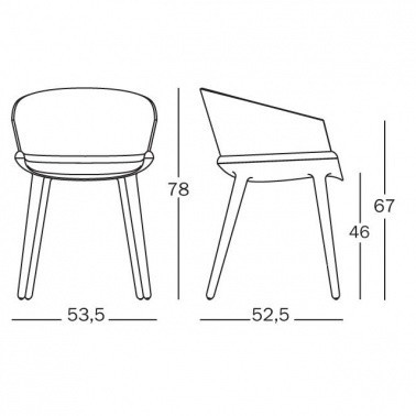 Magis - Cyborg Ply Sessel/Armlehnstuhl - Strichzeichnung