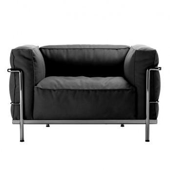 Cassina - Le Corbusier LC3 Outdoor Sessel - kohle schwarz/Stoff Outdoor Sunbrella Sling/Gestell stahl glänzend gebürstet/Inkl. Schutzhülle für den Winter!