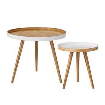 Bloomingville - Cappuccino Bambus Beistelltisch-Set 2-tlg. - weiß/lackiert/Tisch groß: Ø 60 cm, H 50 cm/Tisch klein: Ø 40 cm, H 43 cm