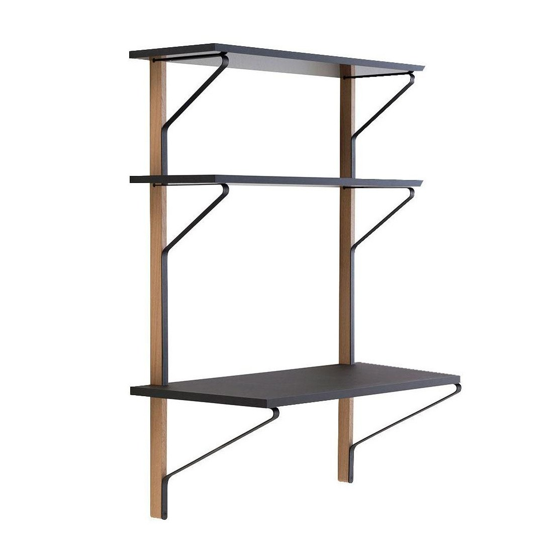 Wall To Wall Shelves artek kaari reb013 wall shelf with desk | ambientedirect