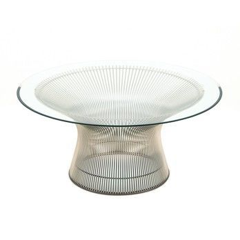Knoll International - Platner Couchtisch Ø91.5cm - transparent/Kristallglas/Gestell Nickel poliert/H 38.5cm