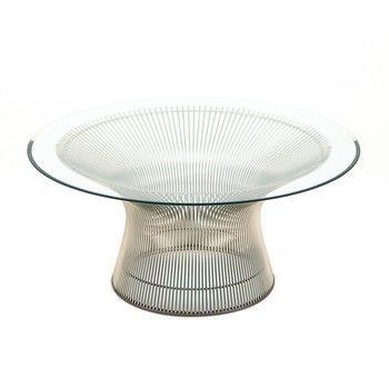 Knoll International - Platner Couchtisch Ø91.5cm - transparent/Kristallglas/Gestell Nickel poliert/H 38.5cm