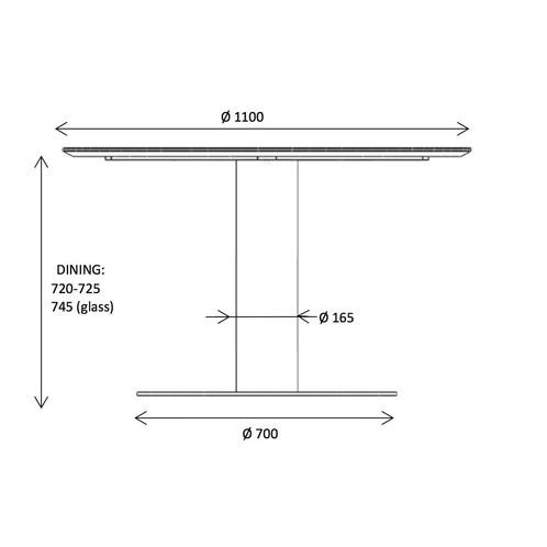 Gubi - 2.0 Dining Table Tisch Gestell Messing Ø110cm - Strichzeichnung