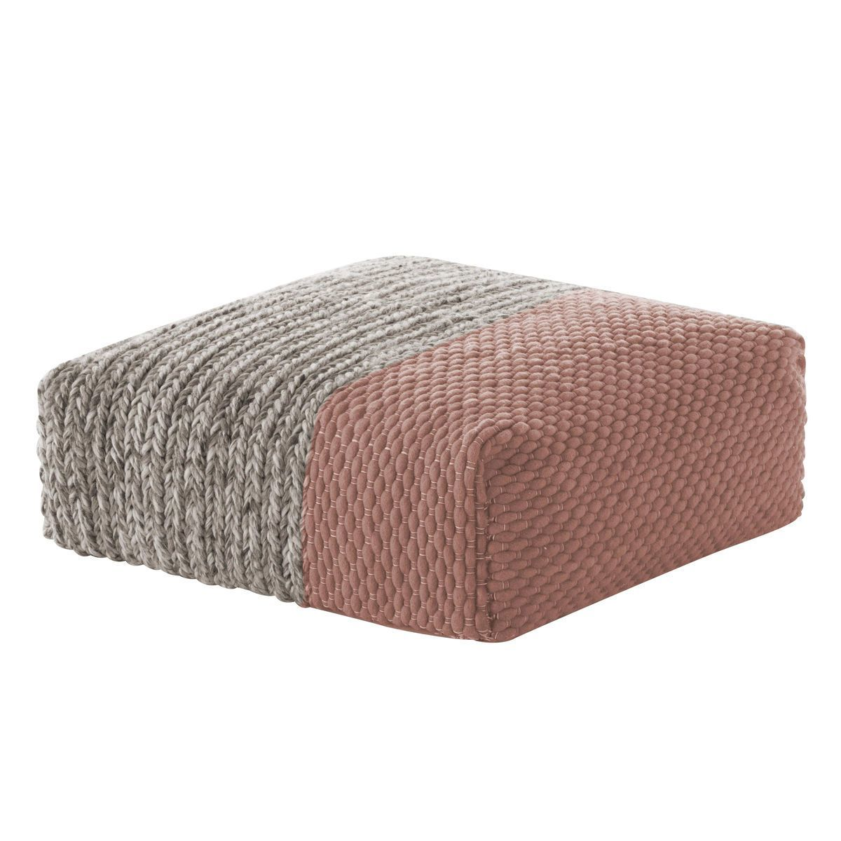 mangas space square pouf  gan  ambientedirectcom - gan  mangas space square pouf  pinkgrey plait wool