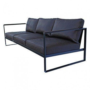 Röshults - Monaco 3-Sitzer Sofa - Leder schwarz/Gestell Eisen schwarz/B x T x H: 230 x 86 x 75cm