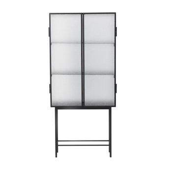 ferm LIVING - Haze Vitrine - schwarz/transparent/Magnetverschluss/3 Fächer/70x155x32cm