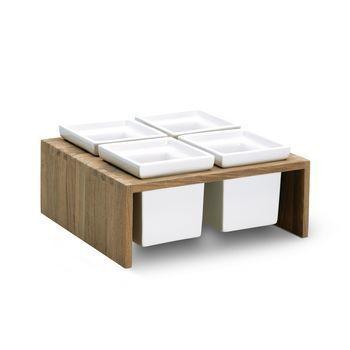 Skagerak - Plint Schalen Quadrat Set 4 tlg. - Schalen weiß/Halterung teak/23x21x12cm