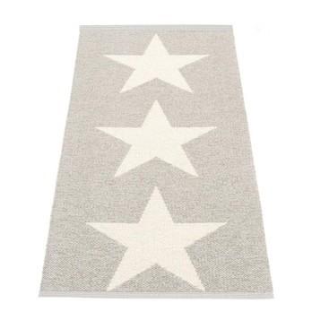 pappelina - Viggo Star Teppich 70x150cm - stone metallic/vanille