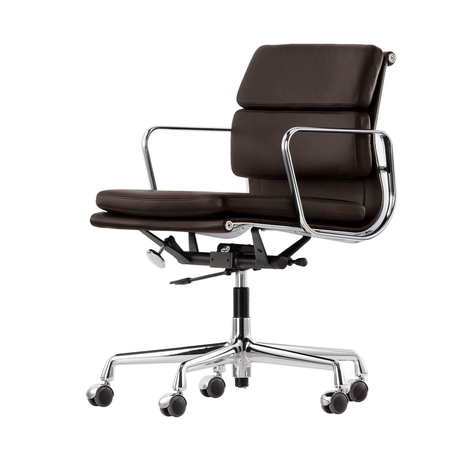 Vitra Soft Pad Chair Ea 217 Chrome Brown Leather 68 Chocolate Wxhxd