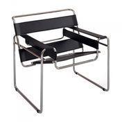 Knoll International - Wassily Marcel Breuer Sessel - Leder schwarz/Gestell chrom/Rindskernleder schwarz