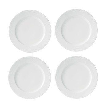 Lyngby Porcelæn - Rhombe Speiseteller 4er Set Ø27cm - weiß/handgemachtes Porzellan
