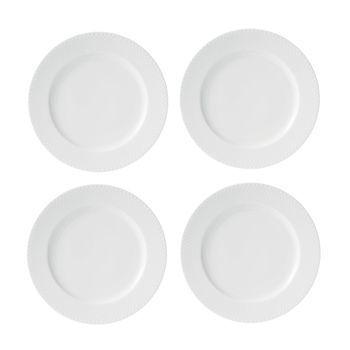 - Rhombe Speiseteller 4er Set Ø27cm - weiß/handgemachtes Porzellan