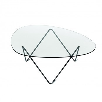 Gubi - Pedrera Table Tisch - transparent/Gestell schwarz/106x86x38cm