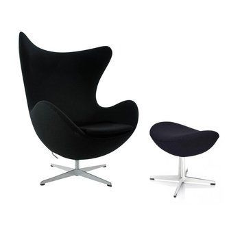 Fritz Hansen - Aktion Egg Chair/Das Ei Sessel + Fußhocker Stoff - schwarz/Gestell Aluminium/Stoff Tonus 128/Fußhocker: LxBxH 56x40x37cm