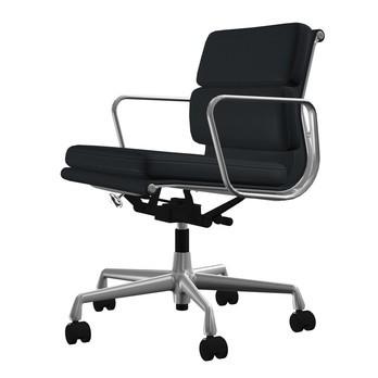 Vitra - EA 217 Soft Pad Eames Alu Chair Bürostuhl - Leder asphalt grau 67/Gestell aluminium poliert/mit weich gebremsten Rollen