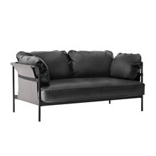 HAY - Can 2-Seater Sofa Frame Black Steel Leather